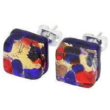 GlassOfVenice Murano Glass Venetian Reflections Square Stud Earrings - Blue Red