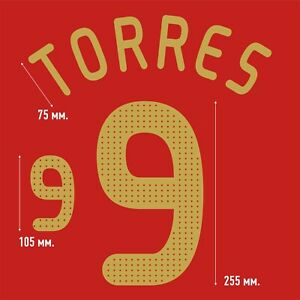 Torres 9. Spain Home football shirt 2008 - 2009 FLEX NAMESET NAME SET