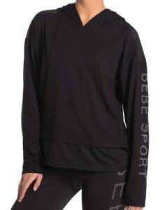 Bebe Sport Hoodie Top Long Sleeve Logo Small Mesh Panel Activewear Black