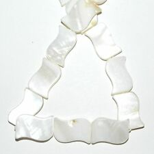 """MP1874 Natural White 20mm Flat Curved Rectangle Mother of Pearl Shell Bead 15"""""""