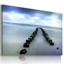BEACH SEA PIER SUNSET Perfect View Canvas Wall Art Picture Large L290 UNFRAMED