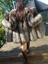 VINTAGE GLAMOROUS REAL SILVER FOX FUR COAT SMALL UK8-10