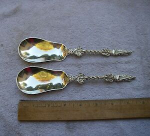 PAIR Unusual English Sterling APOSTLE Handle SERVING SPOONS-Wm Hutton 1897-98
