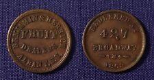 1863 Civil Wr Store Card Albany Ny Cud Benjamin & Herrick Fruit Dealers 10a-4a