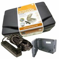 Weatherproof Electrics Box Outdoor Power + 10m Mains Extension Lead MASTERPLUG