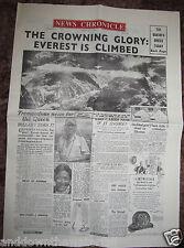 1953 Newspaper Mount Everest Hill Climb Mountaineering Sir Edmund Hillary Nepal