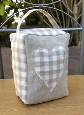 Door Stop Laura Ashley Fabric 'Gingham' Dark Linen