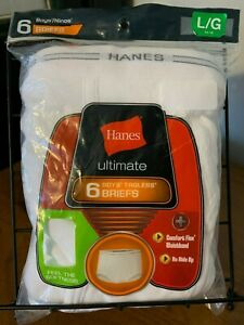 HANES Boy's 100% Cotton~Tag-Free~ULTIMATE BRIEFS 6 Pack ~ Size L (14-16) ~ NIP