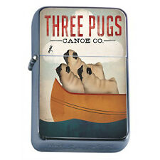 Silver Flip Top Oil Lighter Vintage Poster D 31 Three Pugs Canoe Co