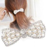 Mode Kristall Strass Perlen Haarnadel Bow Bogen Haarspange Hairschmuck Haar L1P2