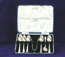 #8040022- 1934 Tea Spoons & Tongs set Solid Silver 103g