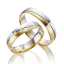 2 x 333 Trauringe Gold Bicolor - Weißgold Eheringe Massiv Paarpreis