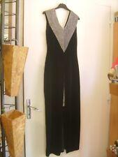 Belle robe de soirée vintage en velours noir et lamé argent taille 38