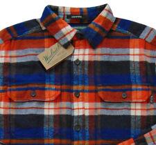 Men's WOOLRICH Blue Orange Colors Plaid Flannel Cotton Shirt Jacket Medium M NWT