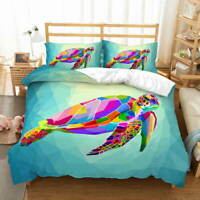 Color Block Turtle 3D Quilt Duvet Doona Cover Set Single Double Queen King Print