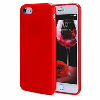 For iPhone 7 8 Plus Red Soft Silicone Case TPU Gel Jelly Phone Shockproof Cover