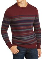 Club Room Mens Sweater Red Gray Size 2XL Knit Crewneck Pullover Striped $50 083