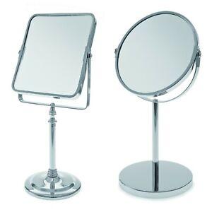 Chrome Pedestal Free Standing Mirror Swivel Bathroom Make Up Shaving Table Top
