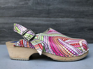 Cape Clogs Pink Floral Leather Clogs 35 5 Sweden Shoes Mules Stapled Striped