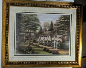 "Country Estate House B Brown Fine Art Print 29"" X 36"" Gold Frame Glass"