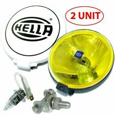 Pair Hella Comet 500 Driving Lamp Yellow Spot Light With Cover Universal Fit