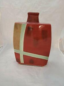 "NWT Pier 1 One Rust/Gold/Sage Rectangular Bottle Neck Ceramic Vase 12"" Tall"