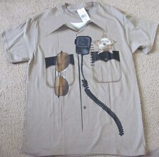KHAKI  NOVELTY POLICE JUSTICE T SHIRT SIZE MED NEW WITH TAGS $20
