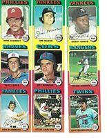 RARE 1975 (4 sheets) Topps 3 up card uncut panel sheet Schmidt Carlton Jenkins