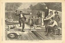 Life On A Lumber Raft, by C.S. Reinhart, Fiddle, Dancing, 1873 Antique Art Print