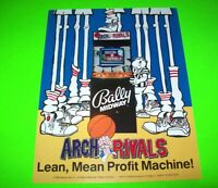 Midway ARCH RIVALS Original 1989 NOS Vintage Video Arcade Game Promo Sales Flyer