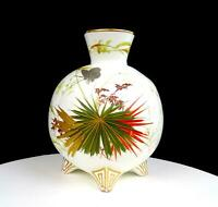 "ENGLISH PORCELAIN JAPANESE INSPIRED RED & GREEN FLORAL BUTTERFLY 7 3/8"" VASE"
