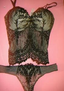 Victoria's Secret 36D CORSET bustier XL thong beige BLACK lace floral VERY SEXY