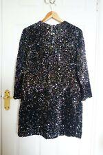 Mini Vestido Zara con lentejuelas, Manga Larga Cuello Redondo Brillo, Multicolor, L, BNWT