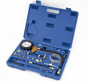 Fuel Pump Pressure Tester Set Petrol & Diesel Combustion Gauge Meter 0-140 PSI