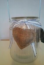 Decorative Glass Jar Tea Light Candle Holder with Ribbon & Hanging Heart Detail