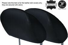 BLACK STITCHING 2X FRONT HEADREST LEATHER COVERS FITS FORD MUSTANG 2005-2009