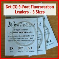 FLY FISHING LEADERS PACKAGE OF (3) Fluorocarbon mails free from USA - 3 sizes