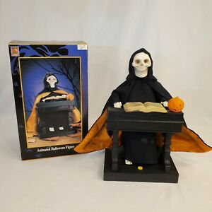 Halloween Gemmy Animated Grim Reaper at his Organ with Box Works 1995 Vintage