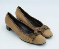 Salvatore Ferragamo Sz 7 B Bow Pumps Suede Leather Heel Tan (RARE) $267