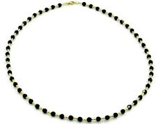"Black Onyx 16"" Necklace with 14k Yellow Gold Fancy Tubes"