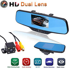 "4.3"" HD 1080P Dual Lens In-Car Rear View Mirror Dash DVR Recorder Camera Monitor"