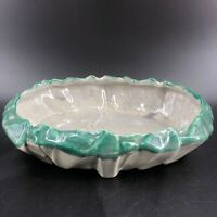 "Vintage McCoy Classic Green & Gray Oval Bulb Planter Dish Art Pottery 11"" MCM"