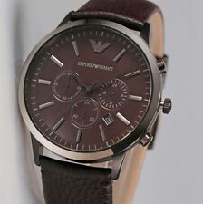 Emporio Armani full brown AR2462 Mens Chronograph leather strap watch