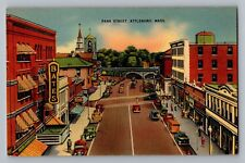Attleboro Massachusetts Ma Park Street View Bates Sign Cars Postcard 1930-45