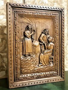 Decorative britany scene wood carving panel Antique french architectural salvage