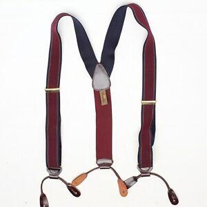 Trafalgar Mens Braces Suspenders Burgundy Blue Gold Stripe Elastic Button Tab