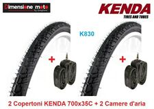 "2 Copertoni KENDA 700x35C K830 Nero + 2 Camere d'aria per Bici 28"" Single Speed"