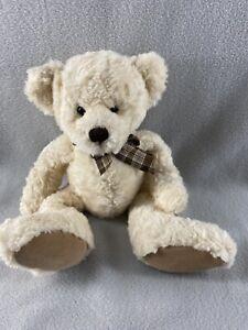 "Russ Berrie Caswell Teddy Bear Plush 13"" Cream Color Stuffed Animal"