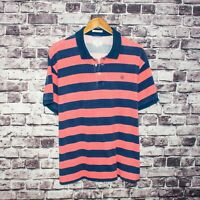 GANT The RUGGER Men's Short Sleeve Polo shirt Distressed Hems Blue Pink Sz 2XL