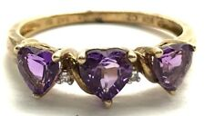 Sterling Silver Three Stone Heart Purple Amethyst - Diamond Accent Cocktail Ring